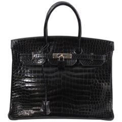 2005 Hermes Birkin 30  Black Porosus Crocodile Leather
