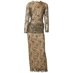 Oscar de la Renta Metallic Lace Evening Gown