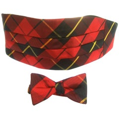 Burberry's Men's Red & Black Tartan Plaid Silk Cummerbund Bow Tie Set c 1980s