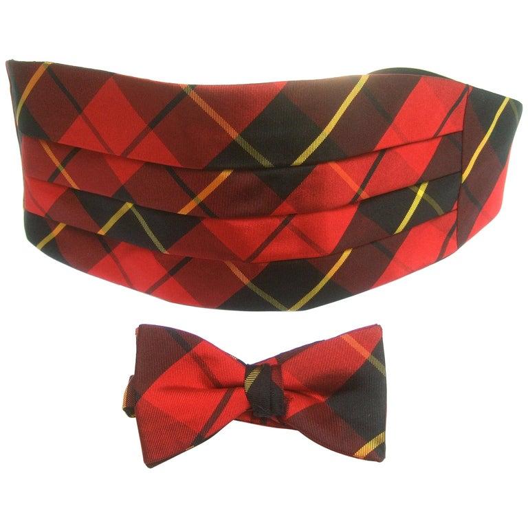 Burberry's Men's Red & Black Tartan Plaid Silk Cummerbund Bow Tie Set c 1980s