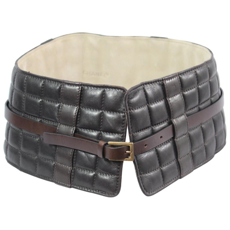 Chanel Wide Brown Leather Belt / Corset. Size 80-85