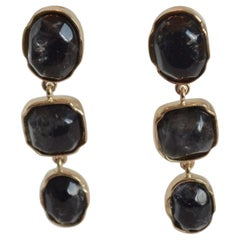 Goossens Paris Triple Drop Dark Blue Tinted Rock Crystal Clip Earrings