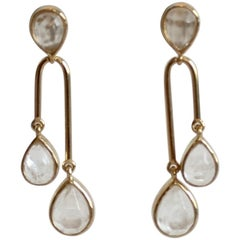 Goossens Paris Double Drop Rock Crystal Pierced Earrings