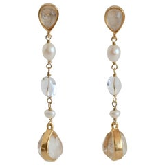 Goossens Paris Rock Crystal and Pearl Pierced Dangle Earrings