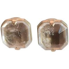 Goossens Paris clear rock crystal clip earrings