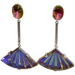 Philippe Ferrandis Vintage Glass Fan and Swarovski Crystal Clip Earrings