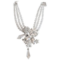 Philippe Ferrandis Clear Swarovski Crystal and Glass Statement Necklace