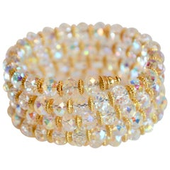 Francoise Montague Clear Memory Wire Wrap Bracelet