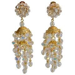 Francoise Montague Iridescent Cube Statement Clip Earrings
