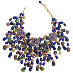 Francoise Montague Jewel Tone Fringe Necklace