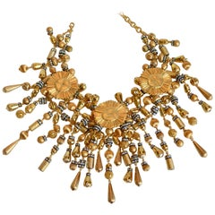 Francoise Montague Gold and Crystal Fringe Necklace
