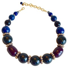 Francoise Montague Blue, Green, and Burgundy Single Strand Necklace