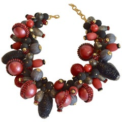 Francoise Montague Red, Grey, and Black Statement Choker Necklace