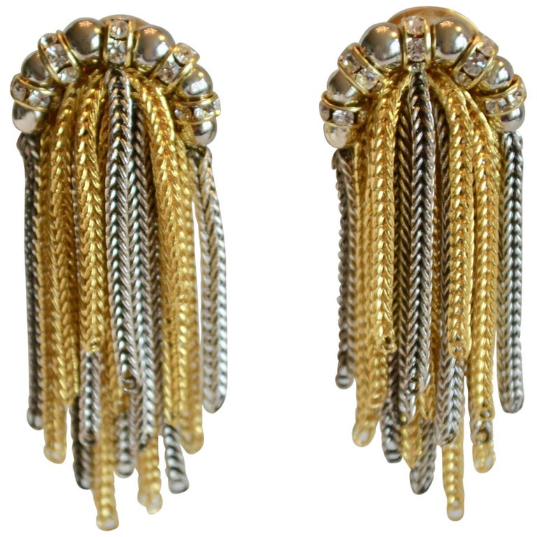 Francoise Montague Crystal and Two Tone Metal Fringe Clip Earrings  For Sale