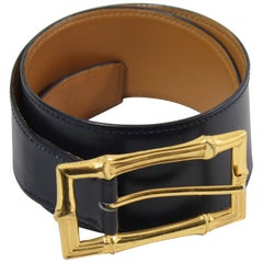Hermes Vintage Bambou Belt in Navy Box leather