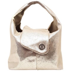 Chanel Champagne Color  Metallic Lame Mini Hobo Bag with Two Flaps for Closure