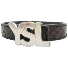 YSL Calf Leather Snakeskin effect Bracelet with logo