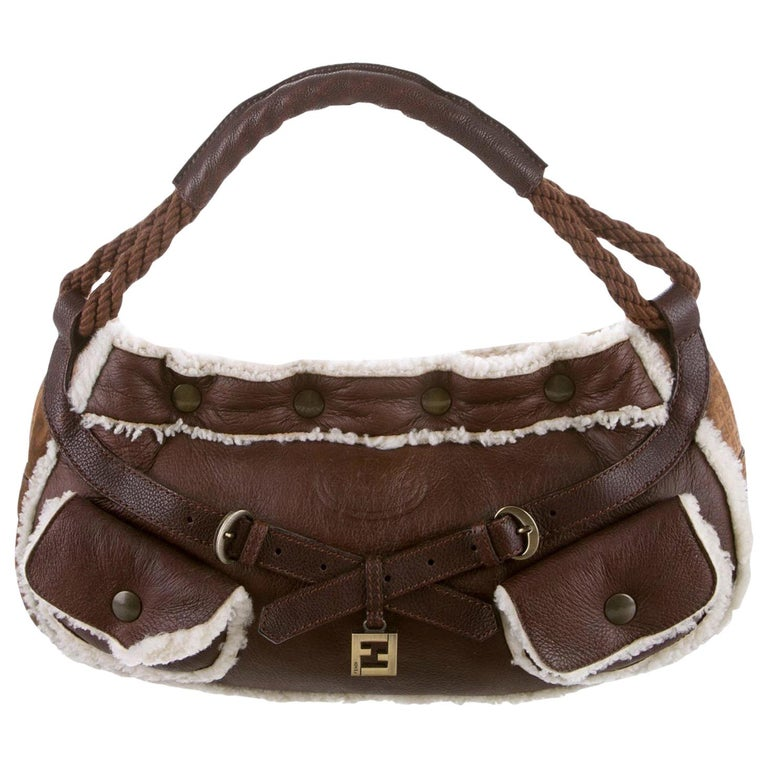 New Fendi Shearling and Suede FF Brown Hobo Tote Bag