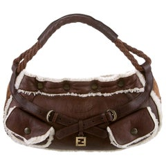 New Fendi Aspen Shearling and Suede FF Brown Hobo Tote Bag