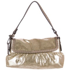 New Fendi Metallic Gold Suede Selleria Chef Baguette Bag