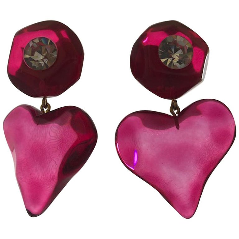 French Pink Heart Statement Earrings For