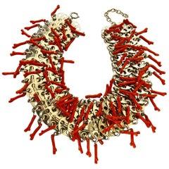 Vintage Italian High Fashion Modern Coral  Statement Necklace