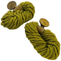 Bold Contemporary Premiere Etage Paris Woven Green Statement Earrings