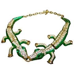 Crystal Enamel Articulated Gilt Metal Alligator Necklace circa 21st C