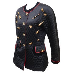 C.1990 Escada Black Silk Satin Quilted Jacket With Brooch Charms