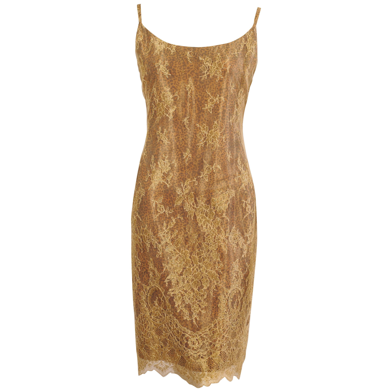 Jean-Louis Scherrer Gold Lace over Leopard Print Dress