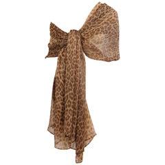 Genny Leopard Print Sheer Silk Chiffon Shawl