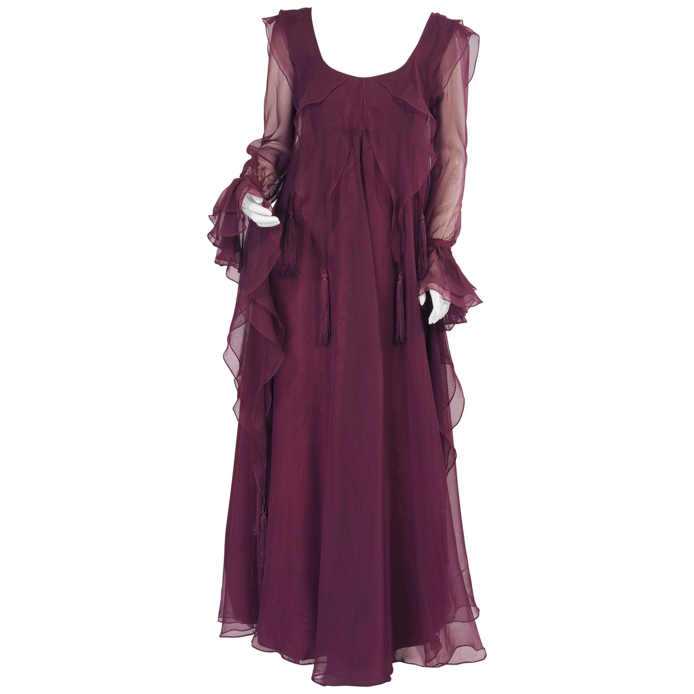 Jean Varon 1970's Aubergine Chiffon Evening Dress Ruffles Ribbons and Tassels