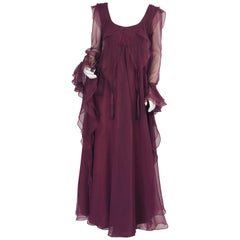 Jean Varon 1970's Aubergine Chiffon Evening Dress Ruffles Ribbons and Tassels