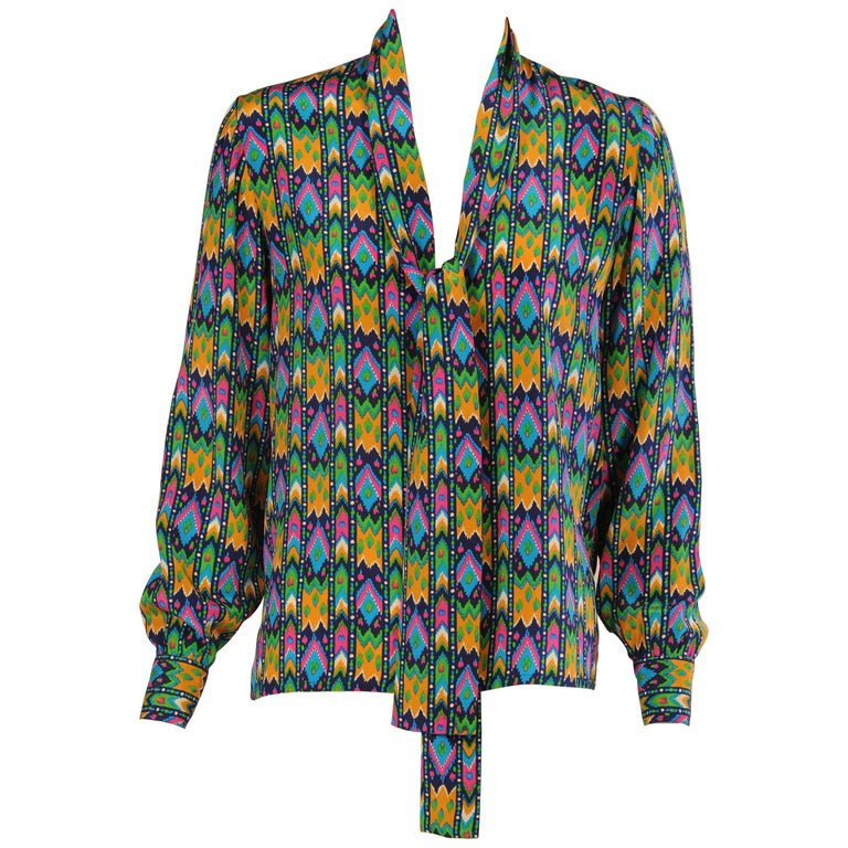 a126316924c065 Yves Saint Laurent Colorful Silk Print Tunic Blouse with Tie Collar For Sale