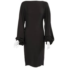 Yves Saint Laurent Black Silk Wrap Dress with Sexy Low Cut Back