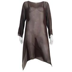 Tom & Linda Platt for Bergdorf Goodman Brown Sheer Silk Tunic Size Large.