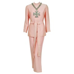 1968 Norman Norell Light-Pink Silk Jeweled Maltese Cross Belted Tunic Pantsuit