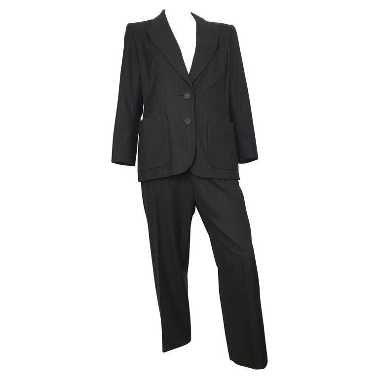 Yves Saint Laurent 1990s Black Wool & Cashmere Pinstripe Pant Suit Size 8 / 10.