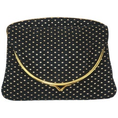 1950's Black & Gold Metallic Brocade Evening Clutch Handbag