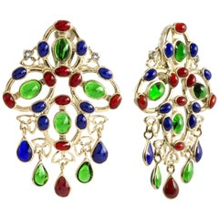 Gripoix Multi Color Plumetis Clip Drop Earrings