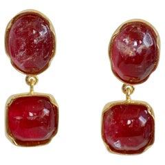Goossens Paris Berry Tone Rock Crystal Cabochon Clip Earrings