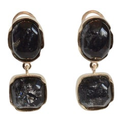 Goossens Paris Dark Blue Tinted Rock Crystal Cabochon Clip Earrings