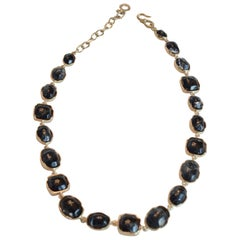 Goossens Paris Dark Blue Tinted Rock Crystal Necklace