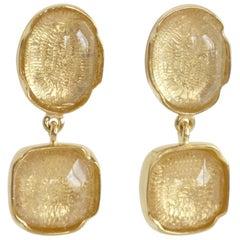 Goossens Paris Clear Rock Crystal Cabochon Clip Earrings