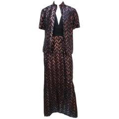 C.1970 Miss Elliette Black & Bronze Brown Sequin Halter Dress With Jacket