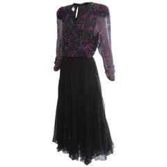 Vintage Diane Fries Silk Dress Embellished Top & Sheer Black Layered Skirt S/M