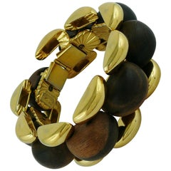 Yves Saint Laurent YSL Vintage Gold Toned and Wood Bold Link Bracelet