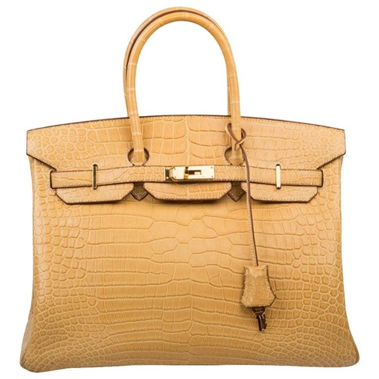d8acb47e86ba Hermès Yellow Maise Matte Porosus Crocodile Birkin 35cm For Sale at ...
