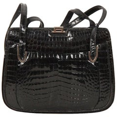 Gucci Vintage Black Crocodile Leather Shoulder Bag