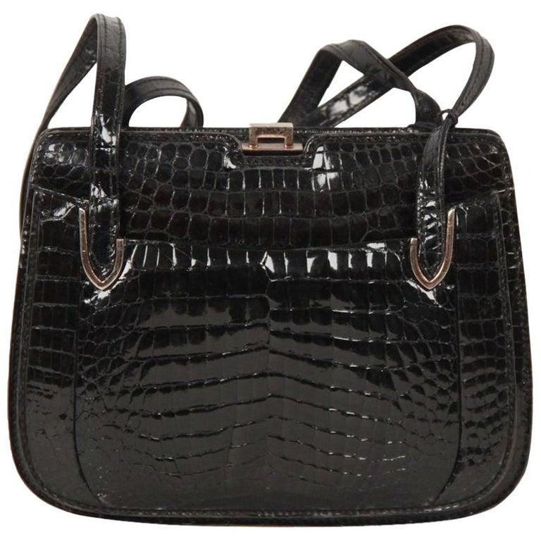 Gucci Vintage Black Crocodile Leather Shoulder Bag
